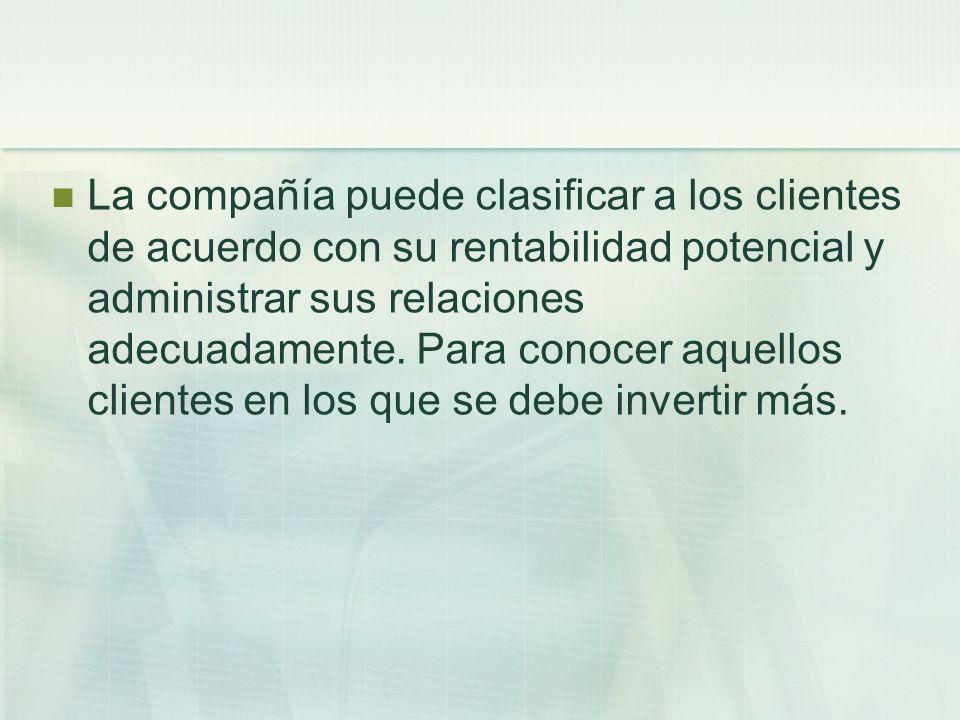 La compañía puede clasificar a los clientes de acuerdo con su rentabilidad potencial y administrar sus relaciones adecuadamente.
