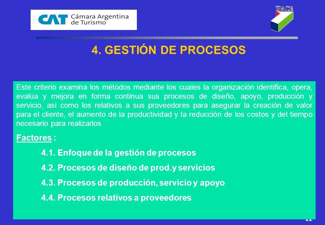 4. GESTIÓN DE PROCESOS Factores :
