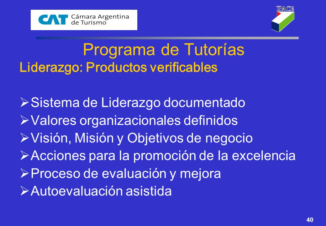 Programa de Tutorías Liderazgo: Productos verificables