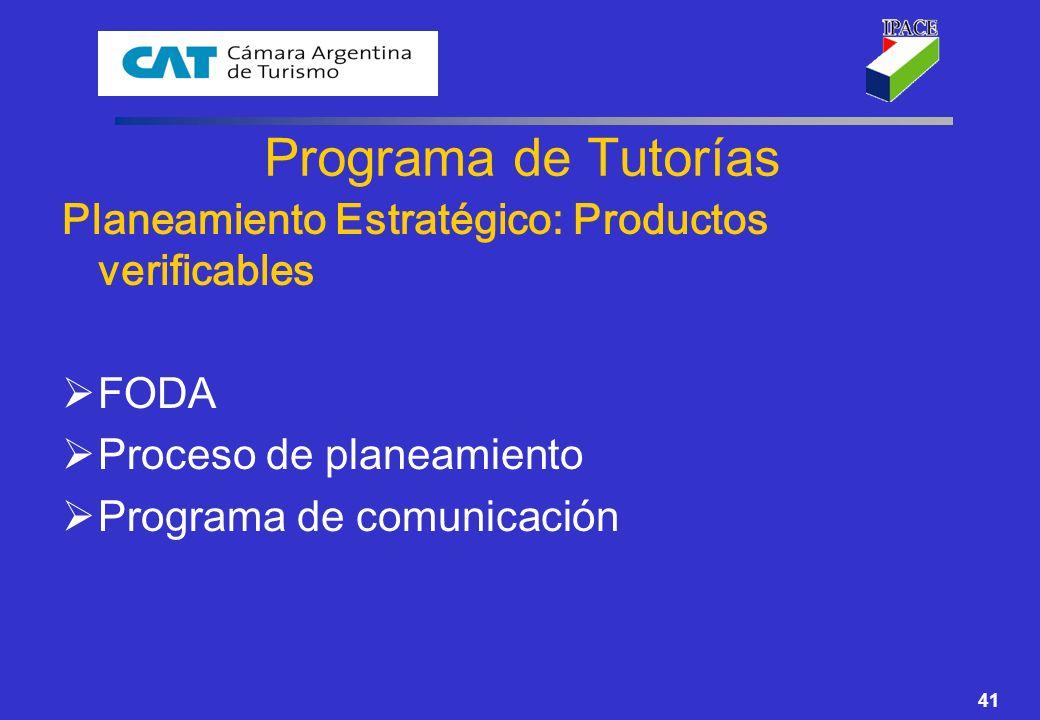 Programa de Tutorías Planeamiento Estratégico: Productos verificables