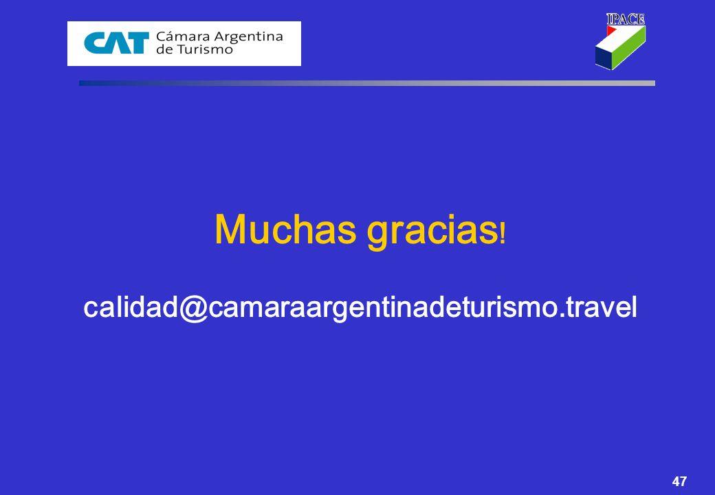 Muchas gracias! calidad@camaraargentinadeturismo.travel