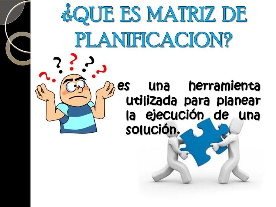 ¿QUE ES MATRIZ DE PLANIFICACION