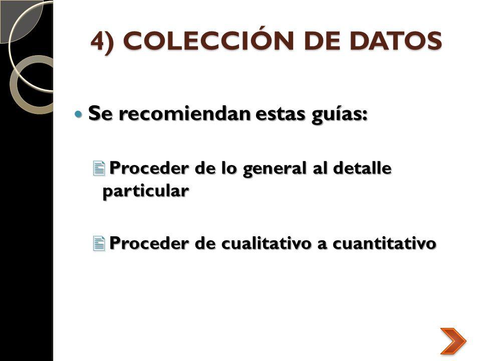 4) COLECCIÓN DE DATOS Se recomiendan estas guías: