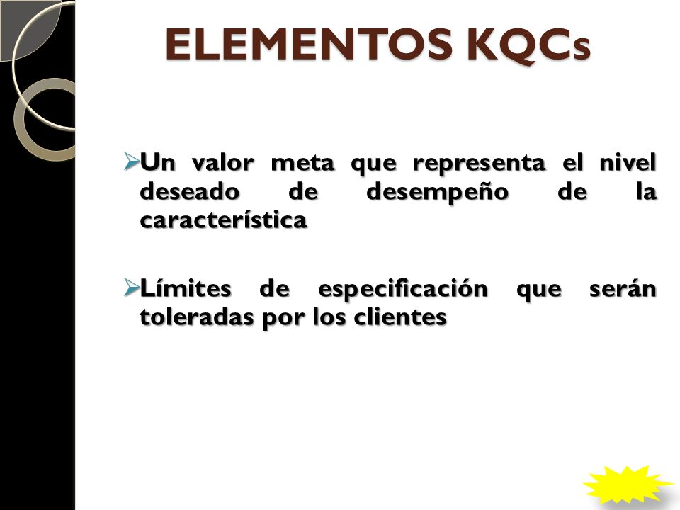 ELEMENTOS KQCs Un valor meta que representa el nivel deseado de desempeño de la característica.