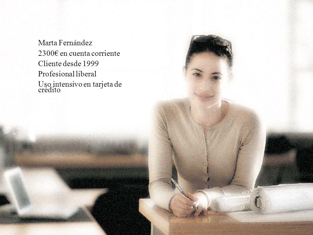 Marta Fernández 2300€ en cuenta corriente. Cliente desde 1999.