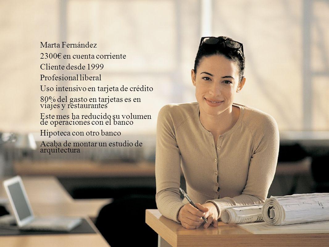 Marta Fernández 2300€ en cuenta corriente. Cliente desde 1999. Profesional liberal. Uso intensivo en tarjeta de crédito.