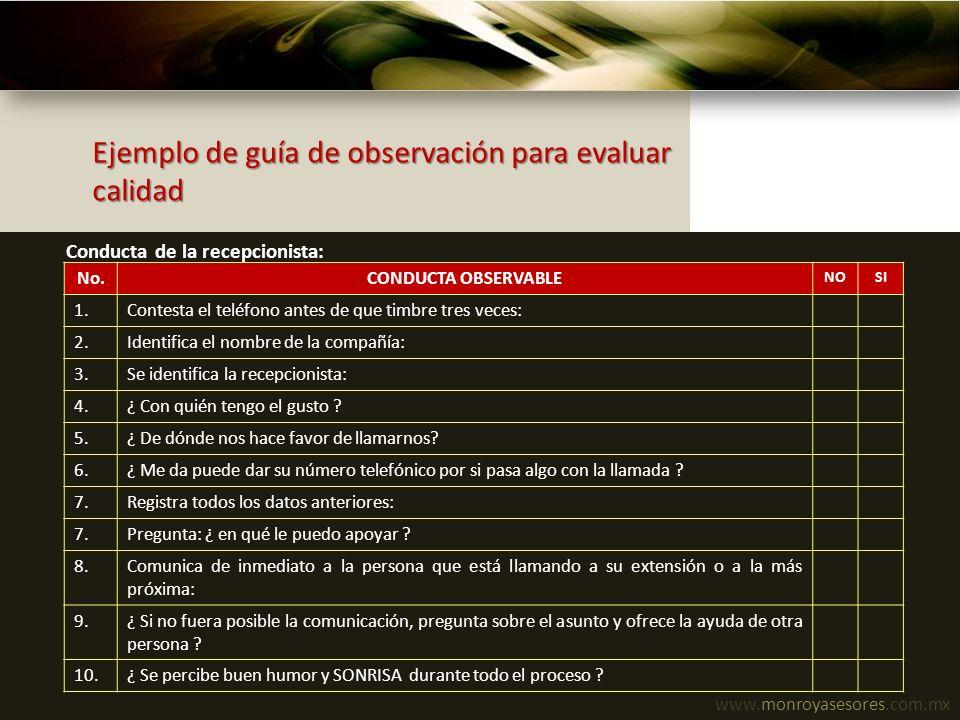 Ejemplo de guía de observación para evaluar calidad