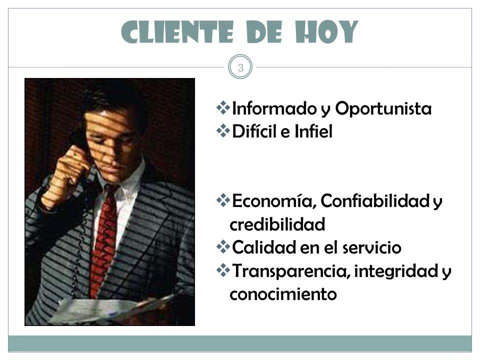 CLIENTE DE HOY Informado y Oportunista Difícil e Infiel