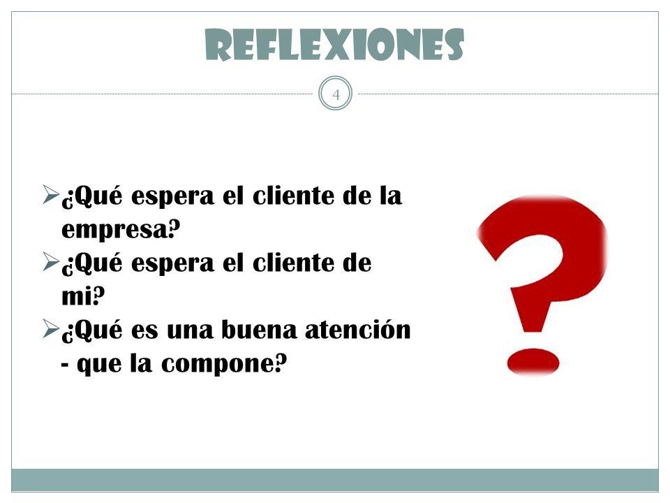 REFLEXIONES ¿Qué espera el cliente de la empresa