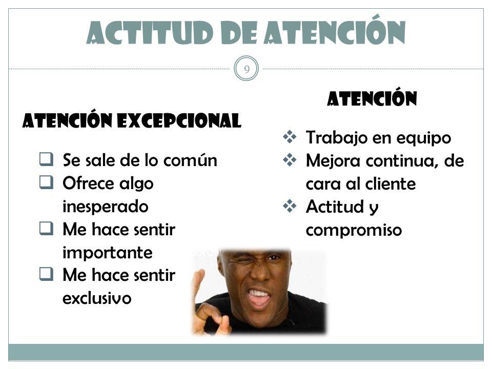 ACTITUD DE ATENCIÓN ATENCIÓN ATENCIÓN EXCEPCIONAL Trabajo en equipo