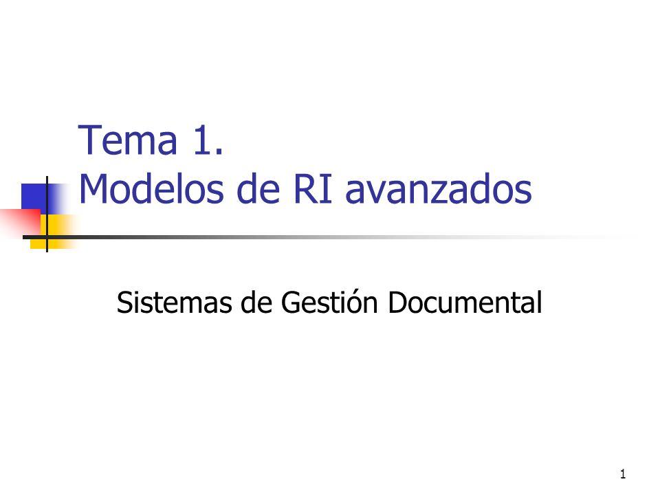 Tema 1. Modelos de RI avanzados