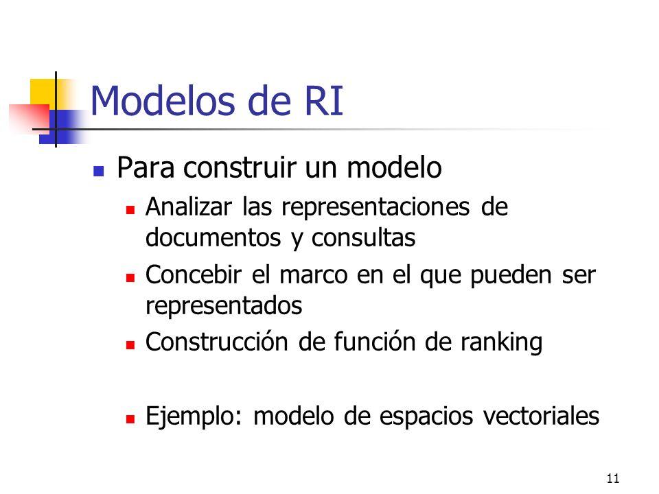 Modelos de RI Para construir un modelo