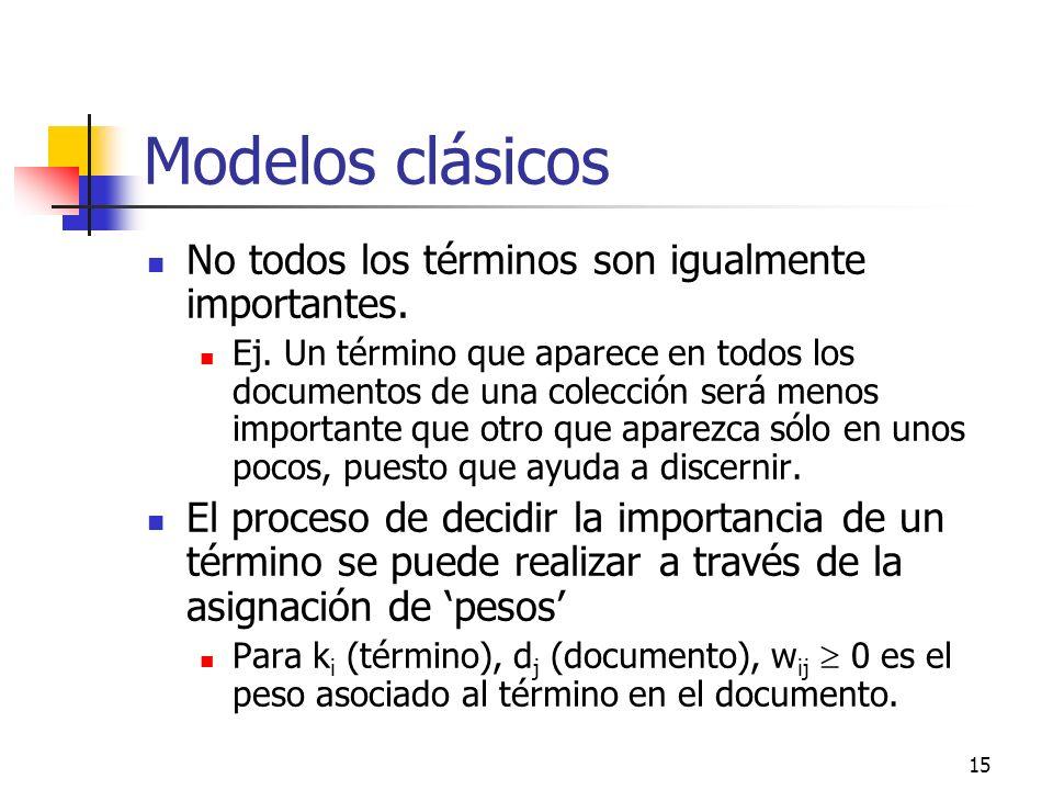Modelos clásicos No todos los términos son igualmente importantes.