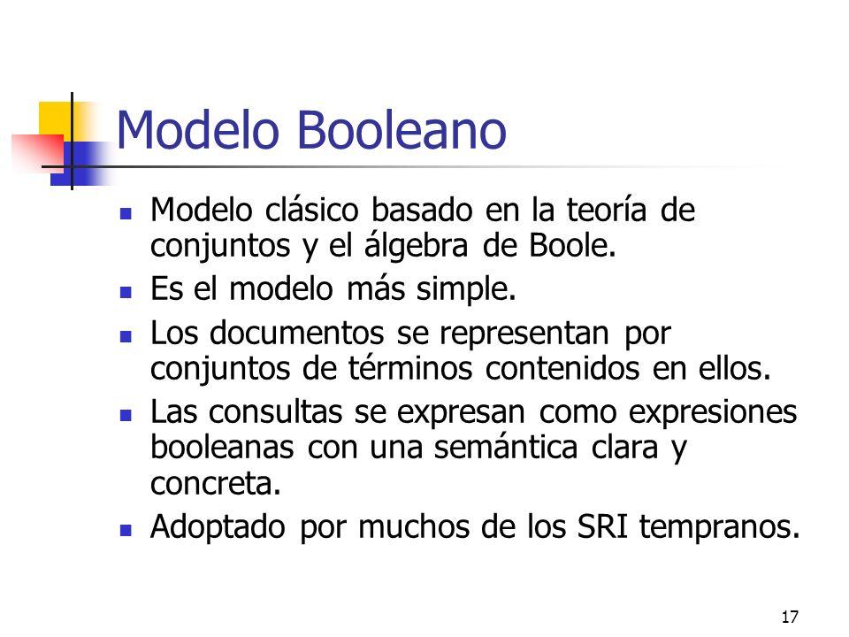 Modelo Booleano Modelo clásico basado en la teoría de conjuntos y el álgebra de Boole. Es el modelo más simple.