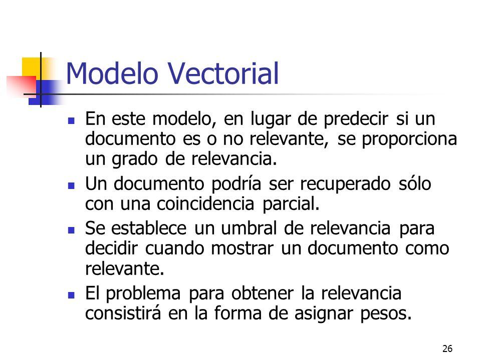 Modelo Vectorial En este modelo, en lugar de predecir si un documento es o no relevante, se proporciona un grado de relevancia.