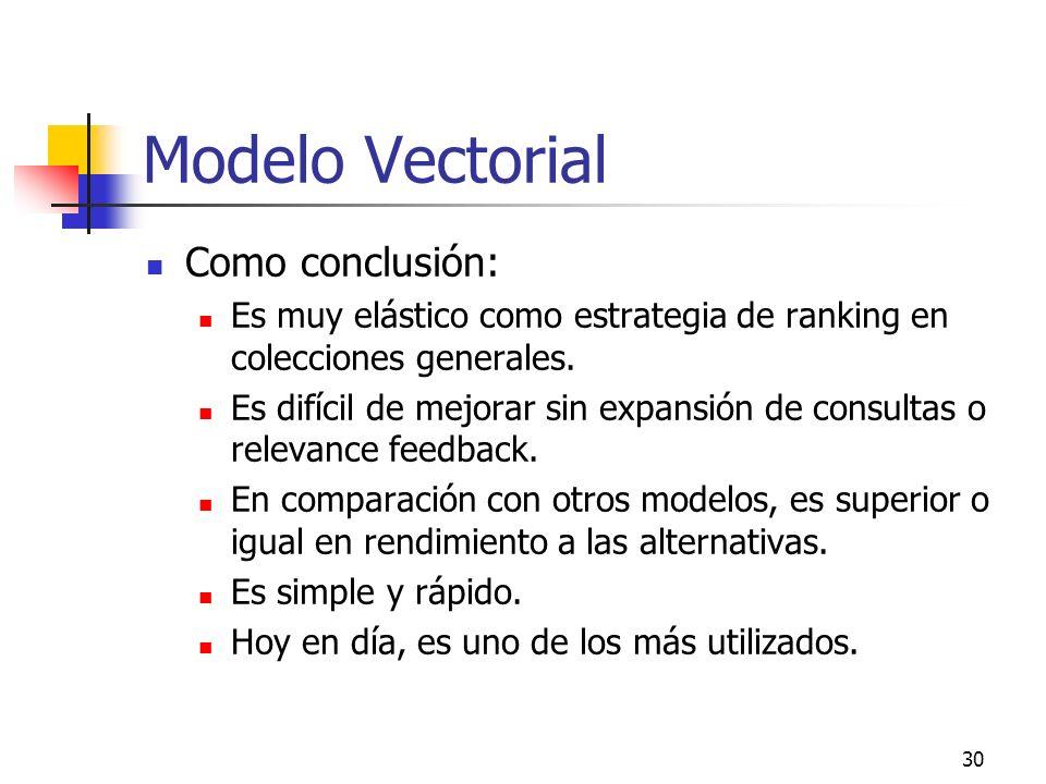 Modelo Vectorial Como conclusión: