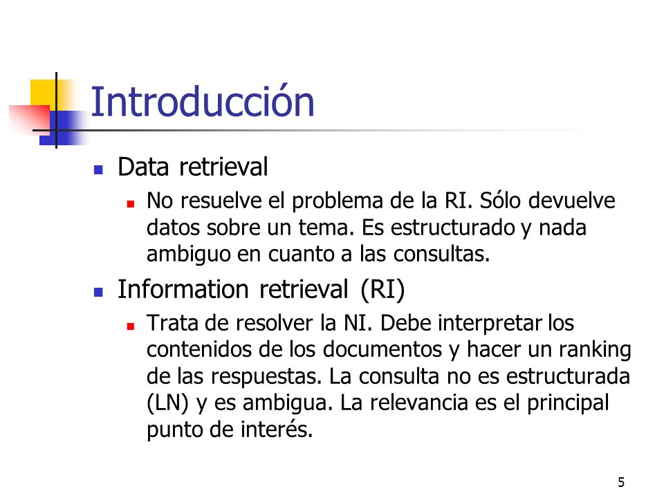 Introducción Data retrieval Information retrieval (RI)