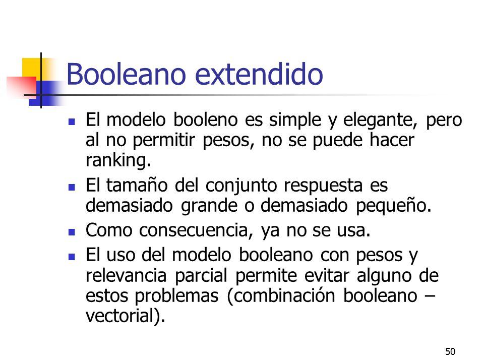 Booleano extendido El modelo booleno es simple y elegante, pero al no permitir pesos, no se puede hacer ranking.