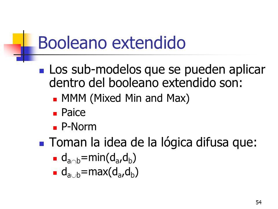 Booleano extendido Los sub-modelos que se pueden aplicar dentro del booleano extendido son: MMM (Mixed Min and Max)