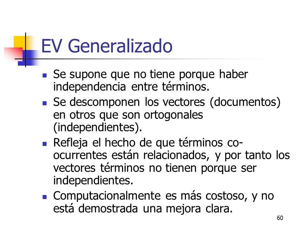 EV Generalizado Se supone que no tiene porque haber independencia entre términos.