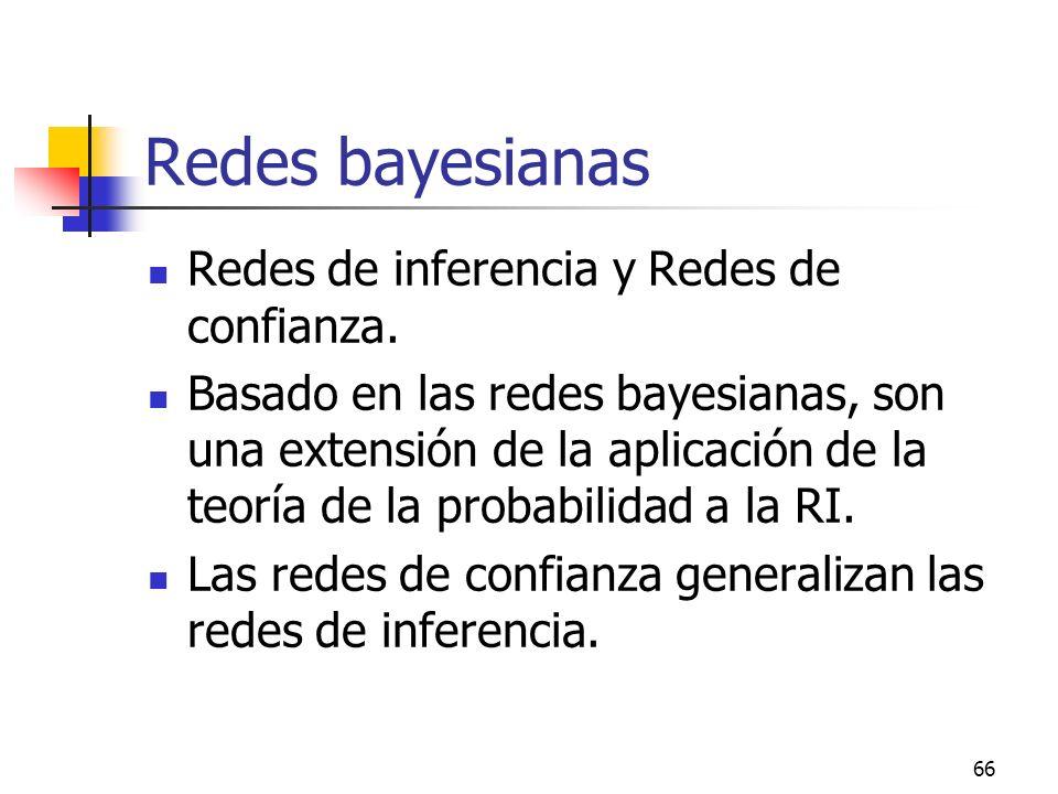 Redes bayesianas Redes de inferencia y Redes de confianza.
