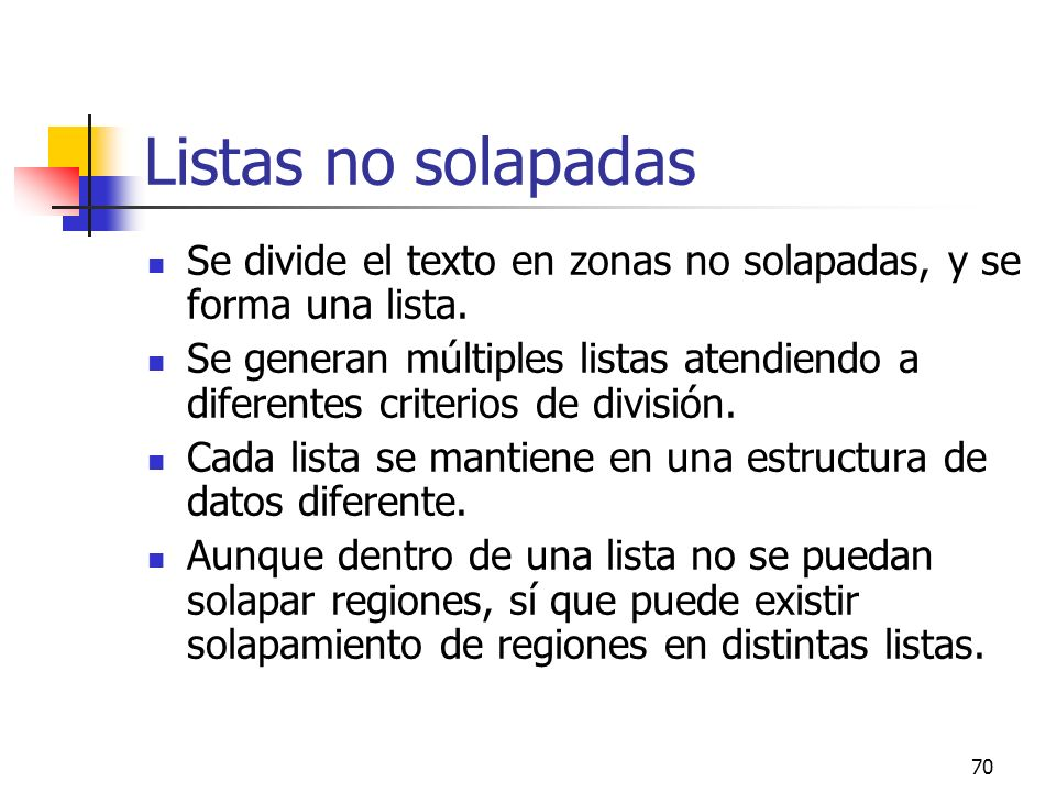 Listas no solapadas Se divide el texto en zonas no solapadas, y se forma una lista.