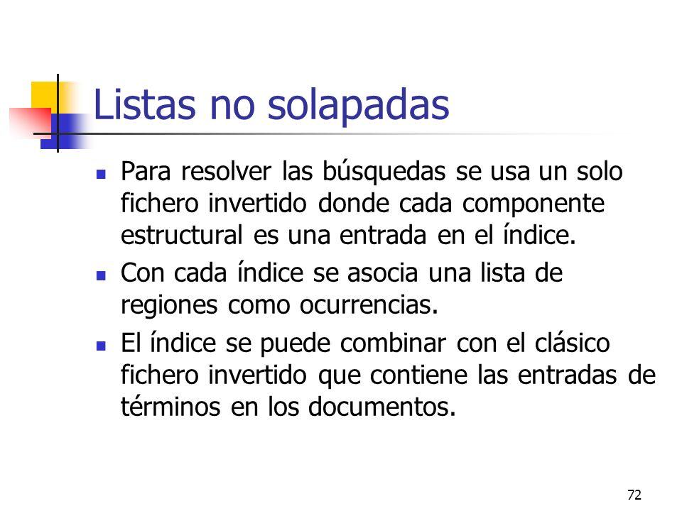 Listas no solapadas Para resolver las búsquedas se usa un solo fichero invertido donde cada componente estructural es una entrada en el índice.
