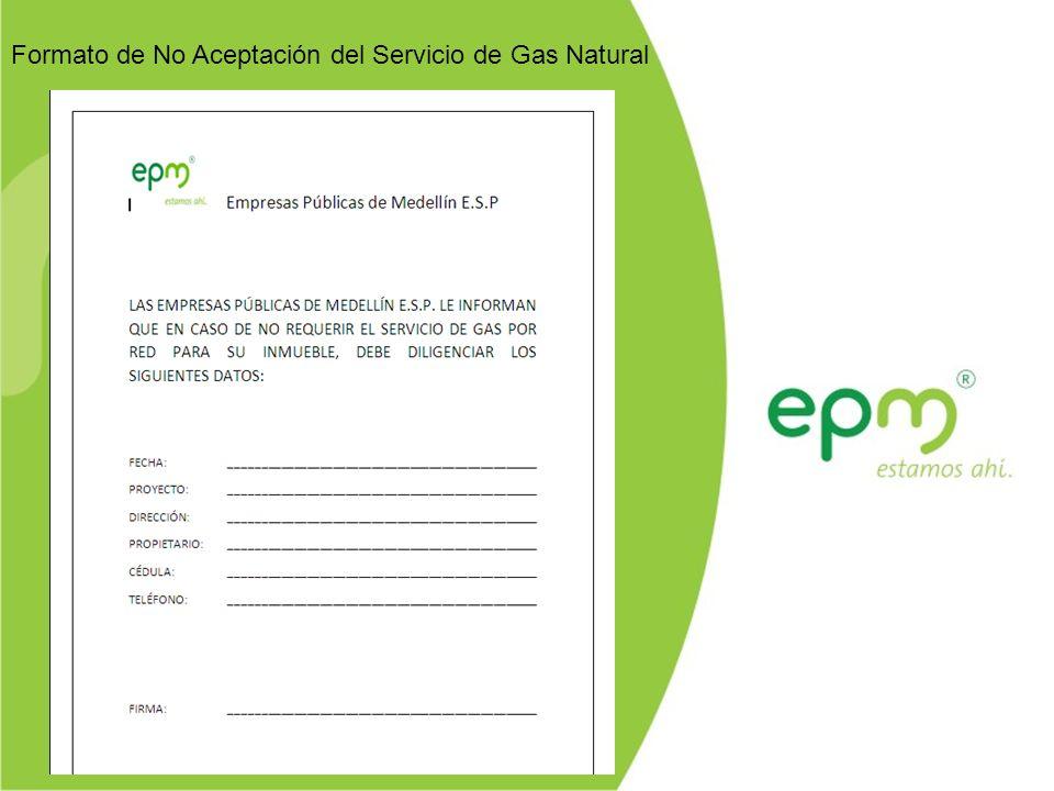 Formato de No Aceptación del Servicio de Gas Natural