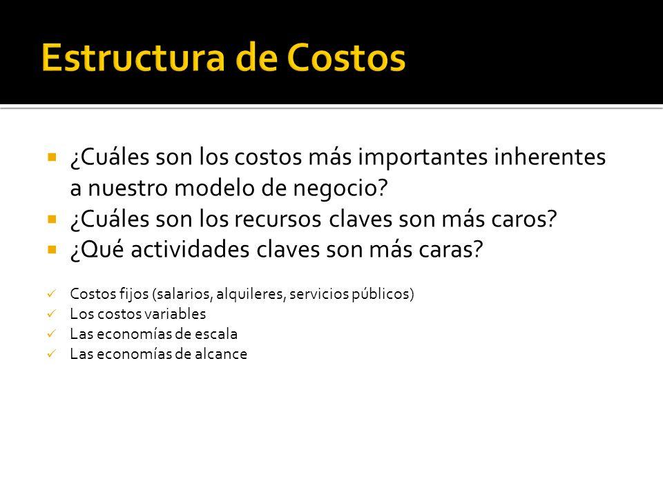 Estructura de Costos ¿Cuáles son los costos más importantes inherentes a nuestro modelo de negocio