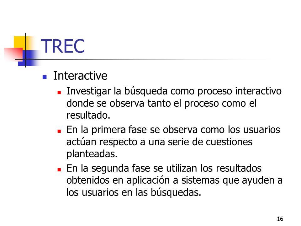 TREC Interactive. Investigar la búsqueda como proceso interactivo donde se observa tanto el proceso como el resultado.