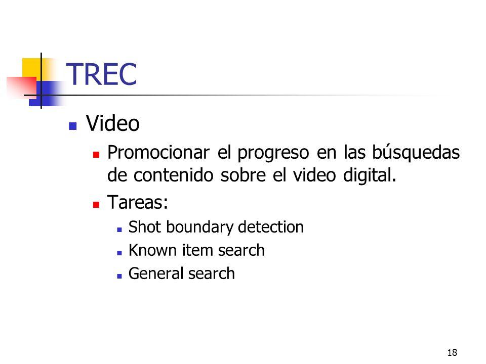 TREC Video. Promocionar el progreso en las búsquedas de contenido sobre el video digital. Tareas: