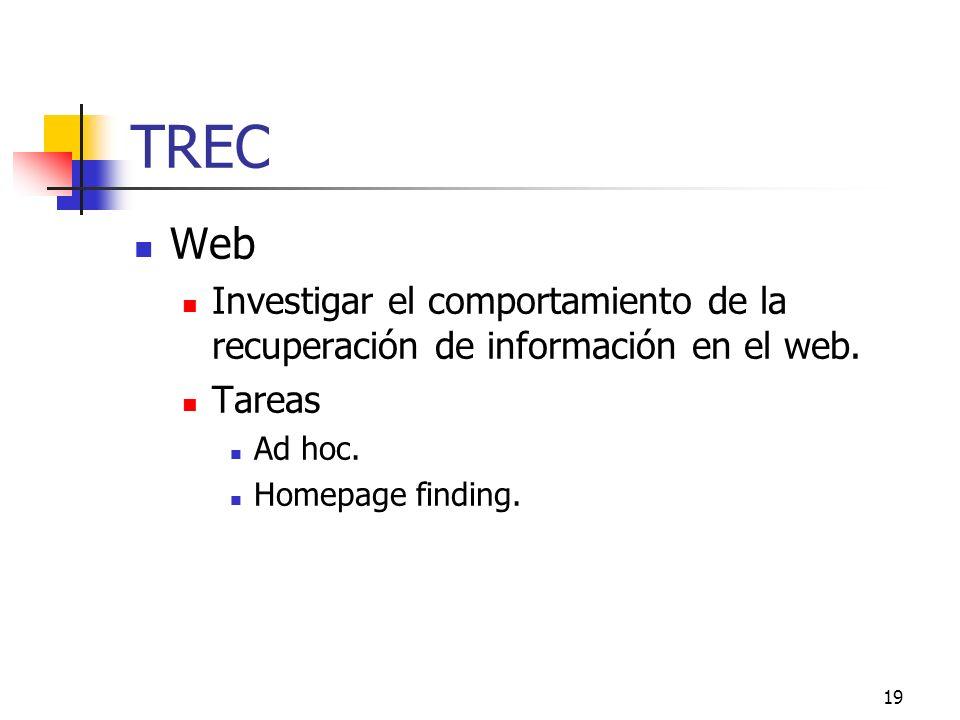 TREC Web. Investigar el comportamiento de la recuperación de información en el web. Tareas. Ad hoc.