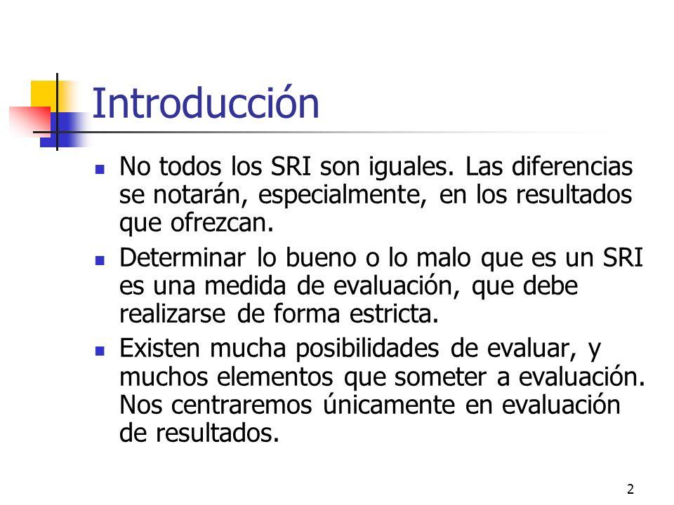 Introducción No todos los SRI son iguales. Las diferencias se notarán, especialmente, en los resultados que ofrezcan.