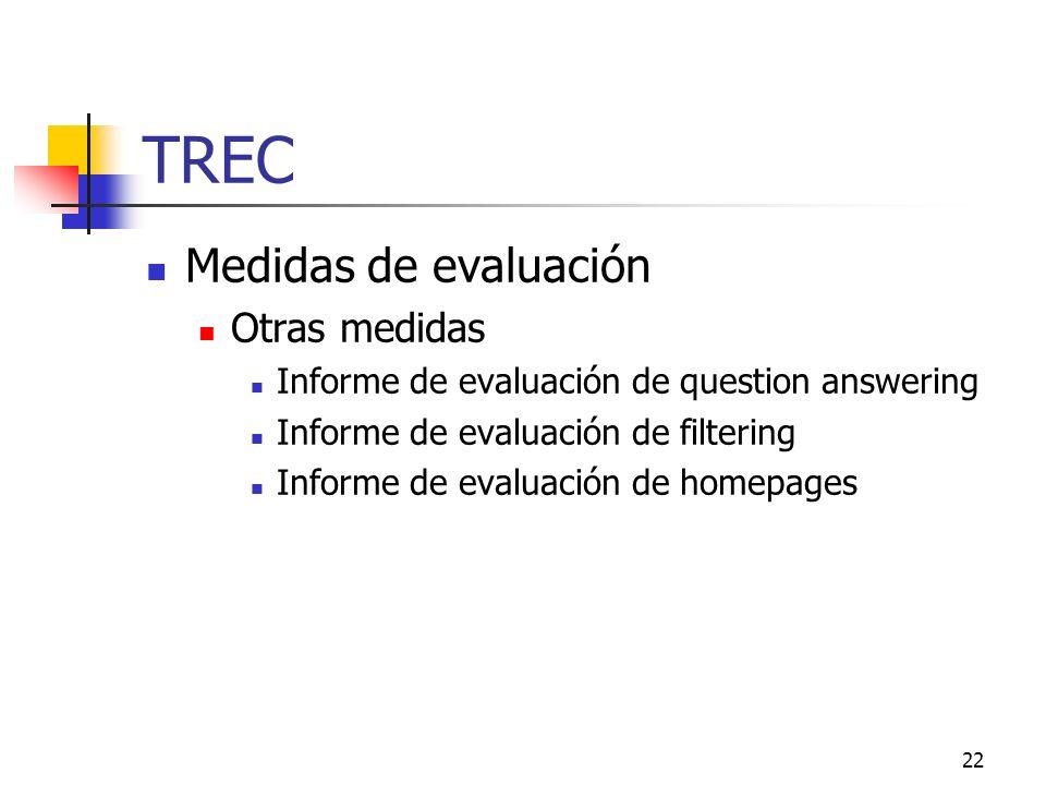 TREC Medidas de evaluación Otras medidas