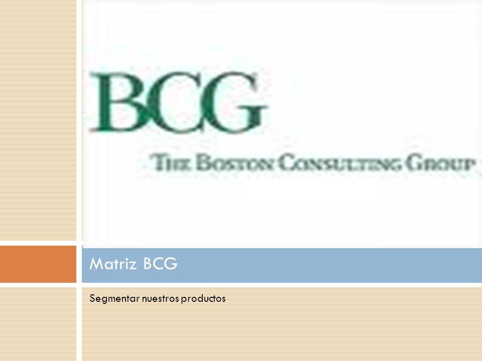 Matriz BCG Segmentar nuestros productos