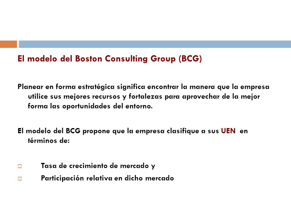 El modelo del Boston Consulting Group (BCG)