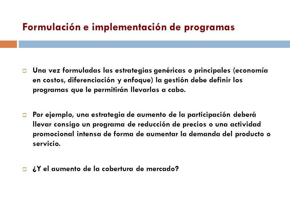 Formulación e implementación de programas