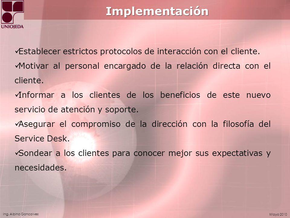 Implementación Establecer estrictos protocolos de interacción con el cliente. Motivar al personal encargado de la relación directa con el cliente.