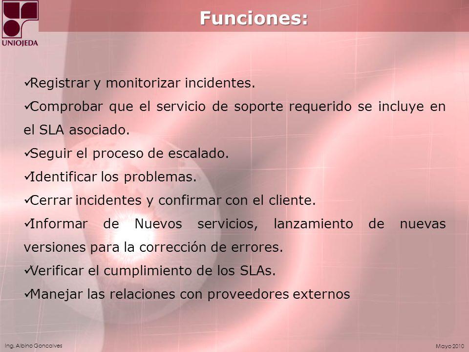 Funciones: Registrar y monitorizar incidentes.