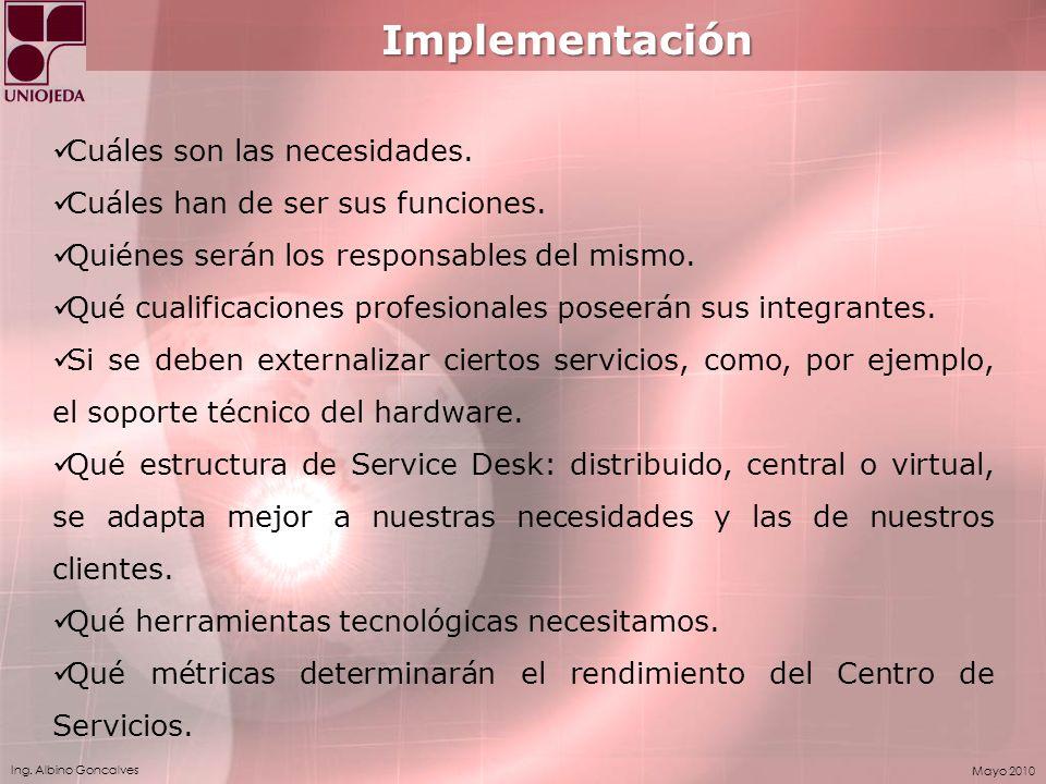 Implementación Cuáles son las necesidades.