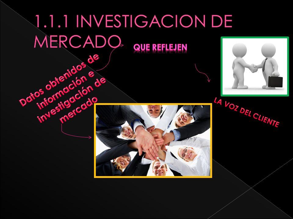1.1.1 INVESTIGACION DE MERCADO