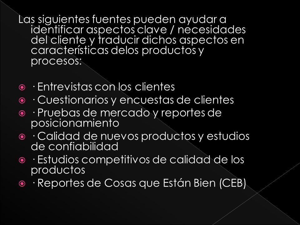 Las siguientes fuentes pueden ayudar a identificar aspectos clave / necesidades del cliente y traducir dichos aspectos en características delos productos y procesos: