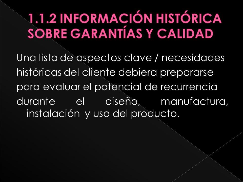 1.1.2 INFORMACIÓN HISTÓRICA SOBRE GARANTÍAS Y CALIDAD