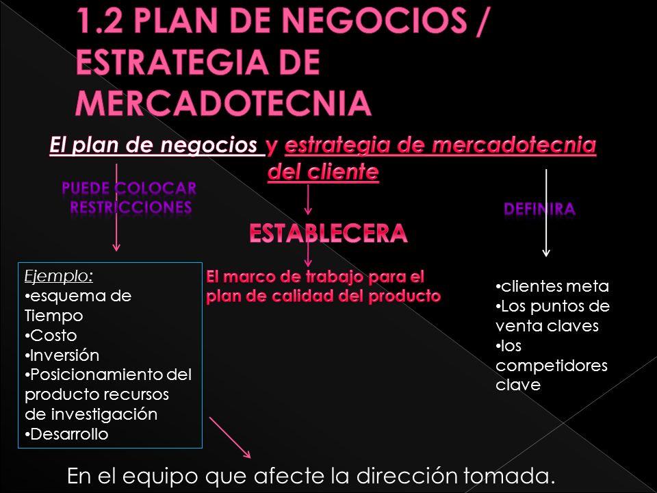 1.2 PLAN DE NEGOCIOS / ESTRATEGIA DE MERCADOTECNIA