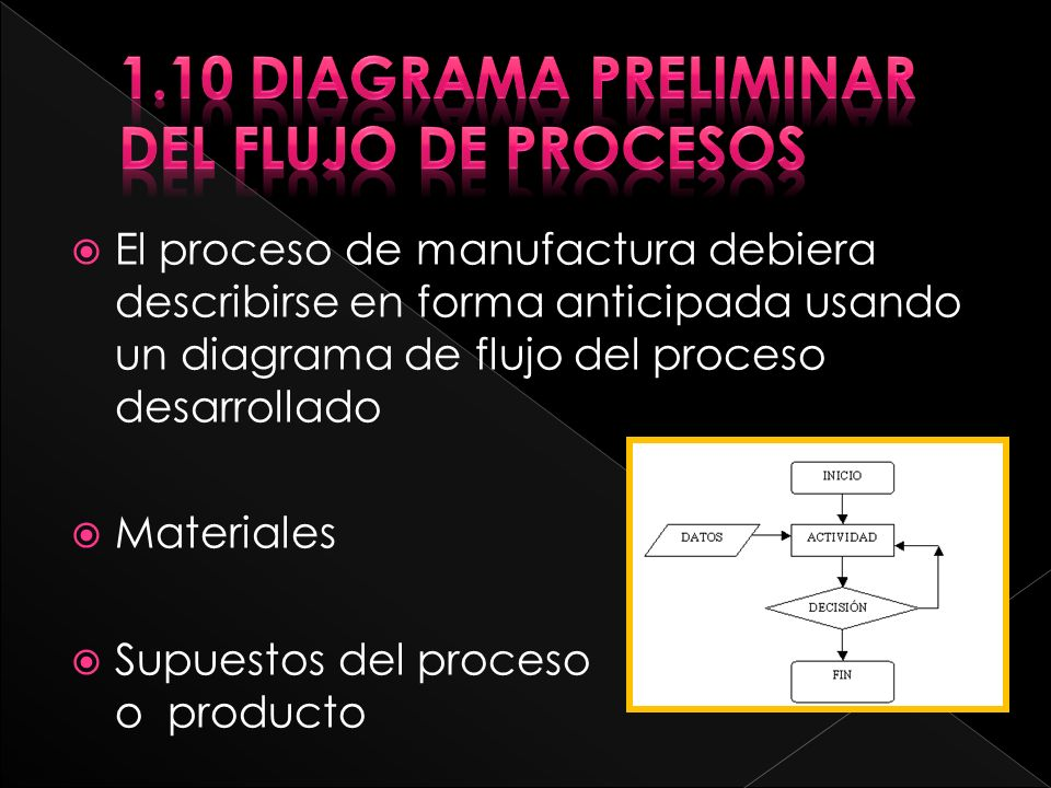 1.10 Diagrama preliminar del flujo de procesos