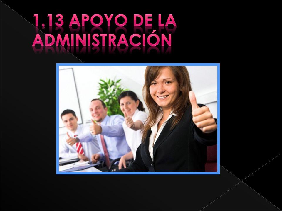 1.13 Apoyo de la administración