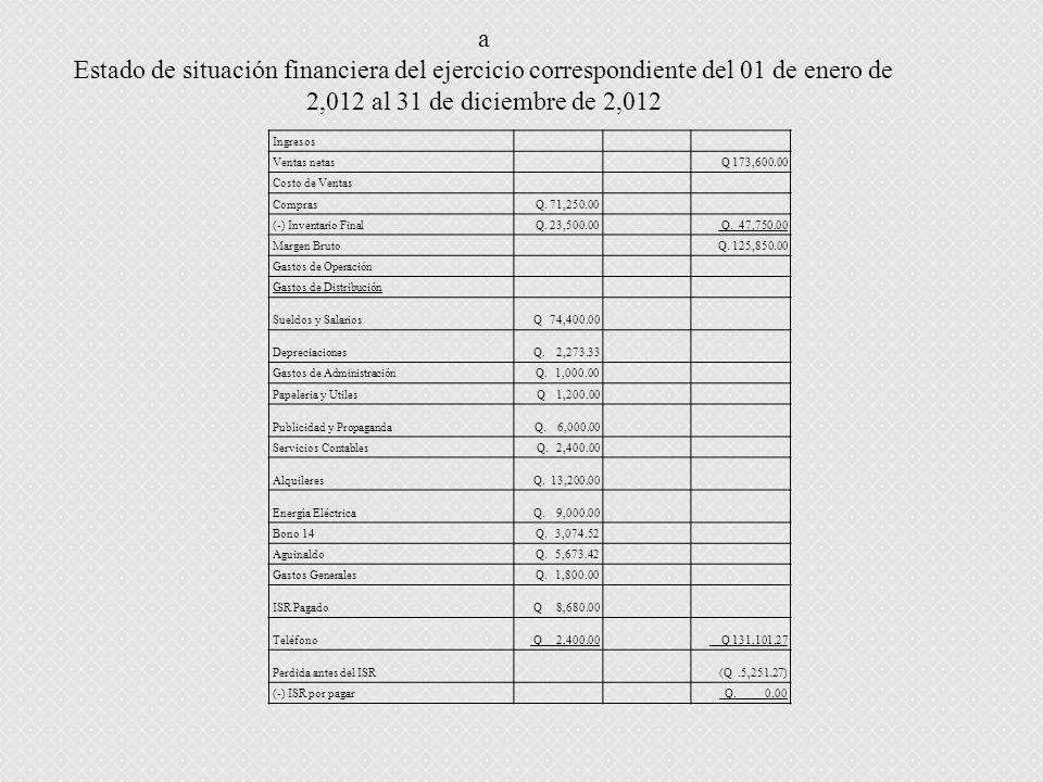 a Estado de situación financiera del ejercicio correspondiente del 01 de enero de 2,012 al 31 de diciembre de 2,012.