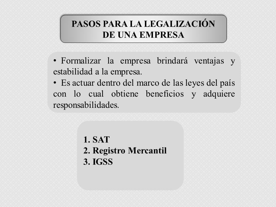 PASOS PARA LA LEGALIZACIÓN DE UNA EMPRESA