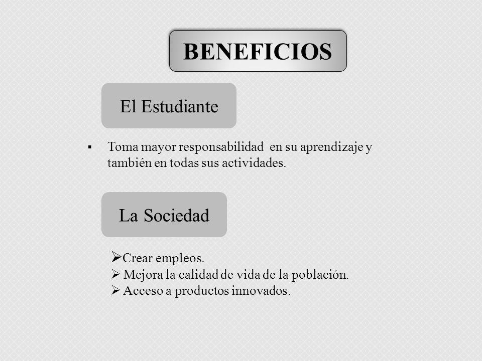BENEFICIOS El Estudiante La Sociedad Crear empleos.
