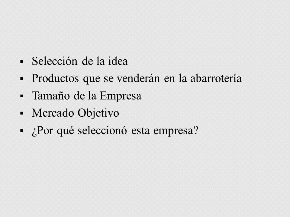 Selección de la idea Productos que se venderán en la abarrotería. Tamaño de la Empresa. Mercado Objetivo.